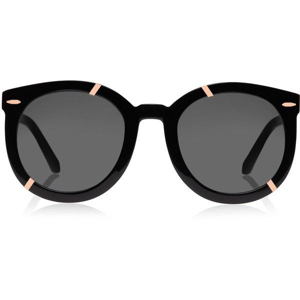 Karen Walker Black Super Duper Strength Rose Gold-Tone Sunglasses ($255) ❤ liked on Polyvore featuring accessories, eyewear, sunglasses, glasses, black, occhiali, acetate sunglasses, black glasses, karen walker eyewear and folding sunglasses