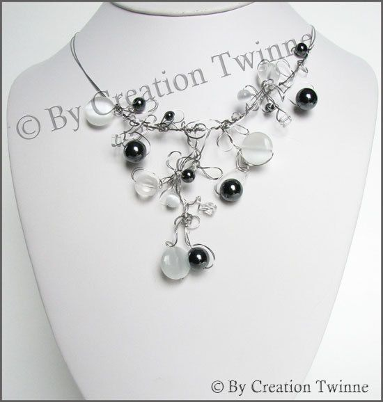 black, white, necklace, wire work necklace, bridesmaids necklace, bridesmaids gift, funky jewelry, chunky necklace, wedding necklace. $58.00, via Etsy. - kjs