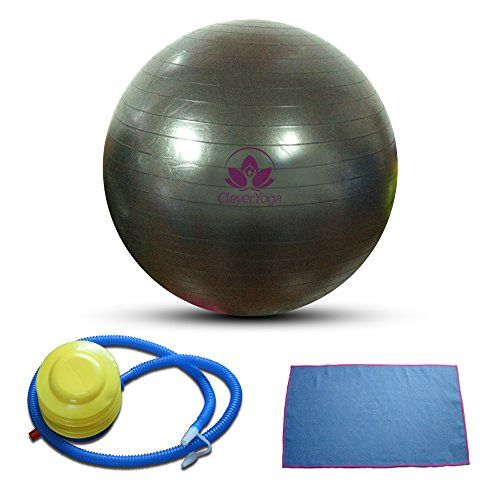 "Clever Yoga Exercise Fitness Ball Plus Hand Towel and Foot Pump - Comes With Our Special ""Namaste"" Lifetime Warranty (Black, 65cm) 