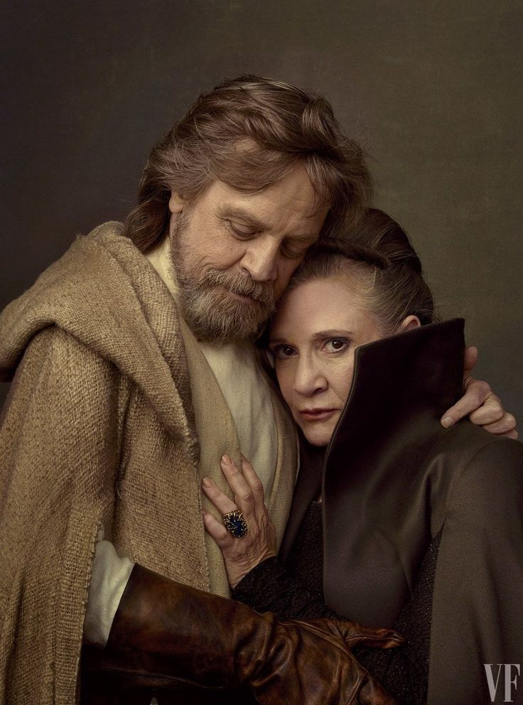 Mark Hamil and Carrie Fisher as Luke Skywalker and Princess Leia, Star Wars