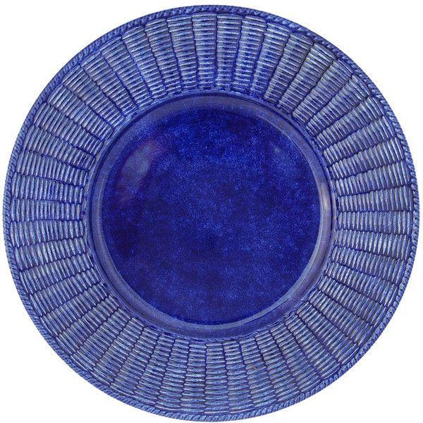 Este Ceramiche e Porcellane Set of 4 Cobalto Wicker Ceramic Plates ($315) ❤ liked on Polyvore featuring home, kitchen & dining, dinnerware, blue dinnerware, blue ceramic plates, ceramic plates, ceramic dinnerware and set of 4 plates