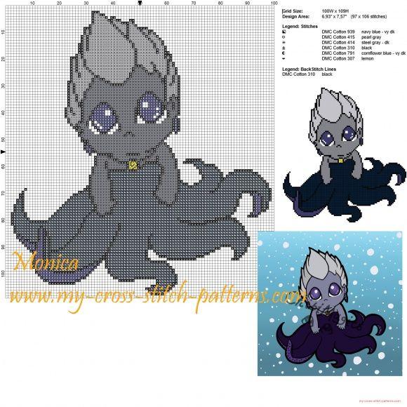 Ursula chibi cross stitch pattern