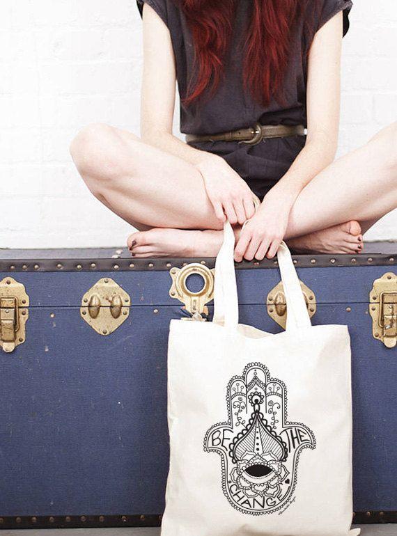 Organic Cotton Shopper Bag  Hamsa Graphic  Hand by Rambutandesigns