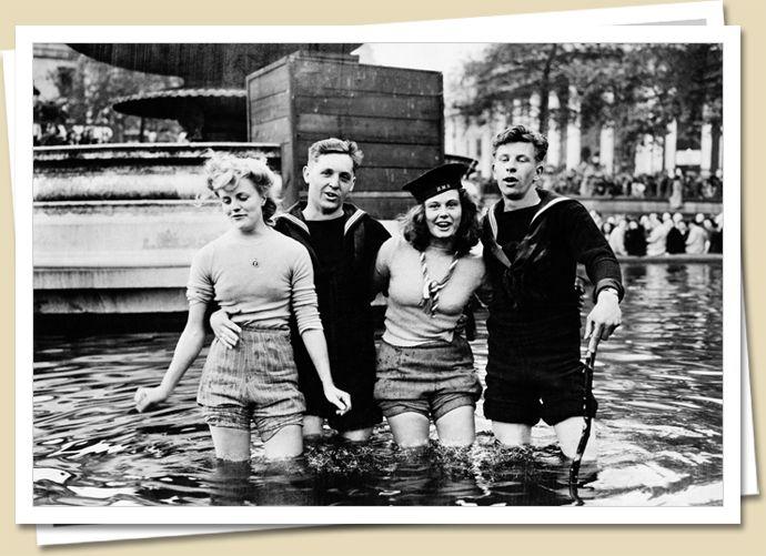 celebrating VE Day in London, May 1945