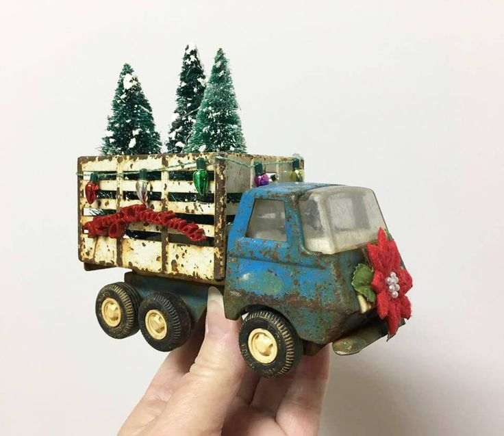 Vintage Tonka Truck Decorated for Christmas/ Tonka Toy Truck / Miniature Toy Christmas Truck/  Mini Christmas Decoration / OOAK
