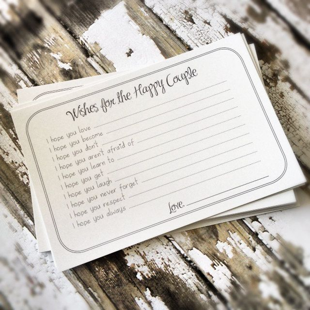 Wishes for the Happy Couple Cards - Unique Bridal Shower Activity Game or Wedding Guest Book Alternative - Set of 75. $20.99, via Etsy.