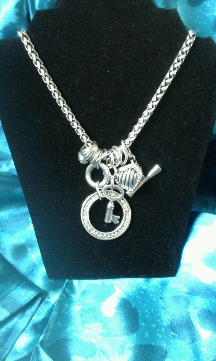 Miglio Burnished silver necklace with crystal charms | eBay