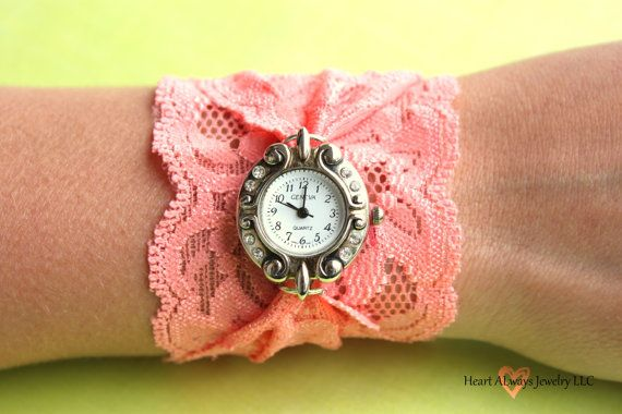 Lace Watch. Looks easy to make: just thread a long piece of stretchy lace through the watch rings, tie, and twist twice around the wrist!