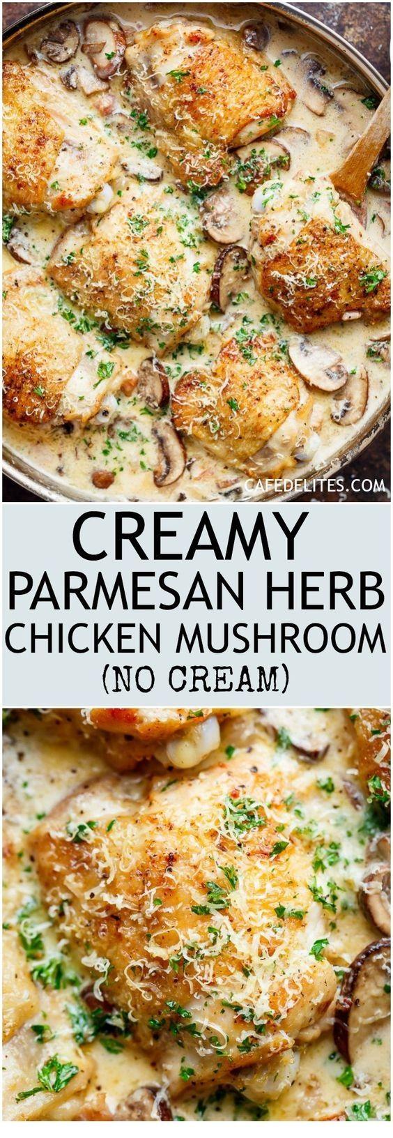 Chicken Mushroom with Herbs and Parmesan    – Mushroom Recipes