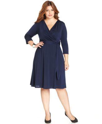 NY Collection Plus Size Faux-Wrap Dress   macys.com 7 color choices
