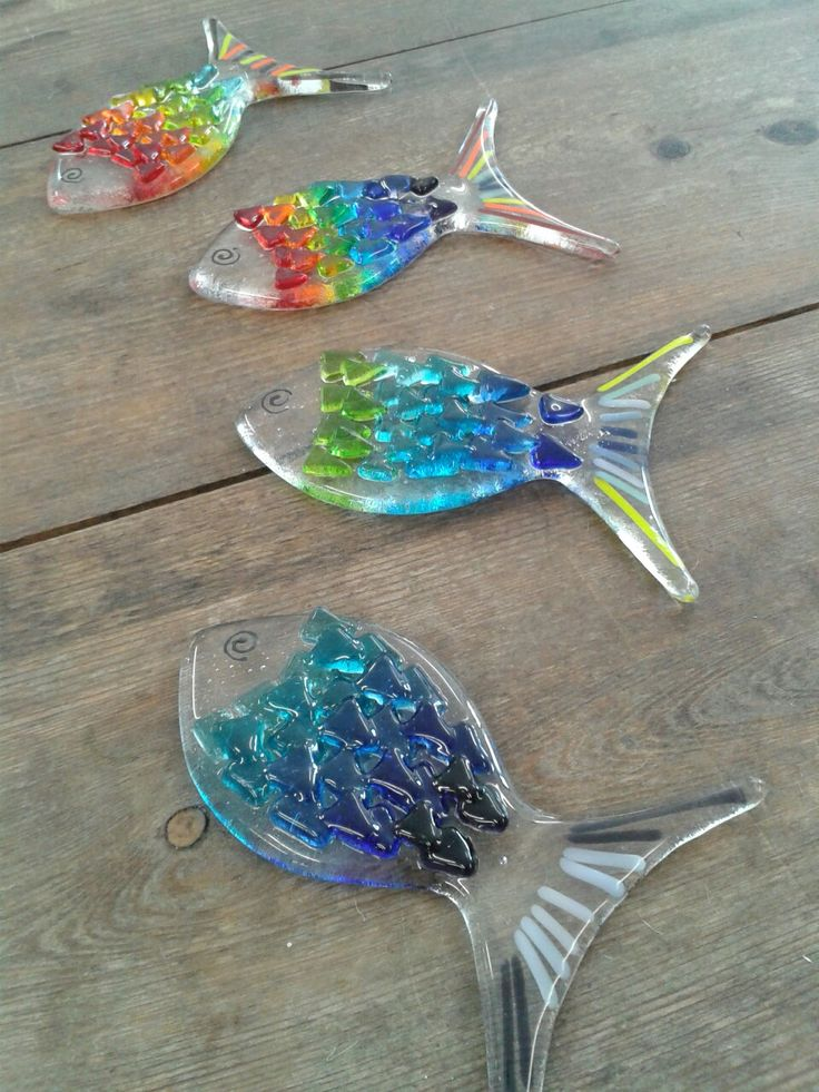 Fused Glass Fishes. With Colourfull Rainbow Colours and also with Peaceful Blue Colours. ❤