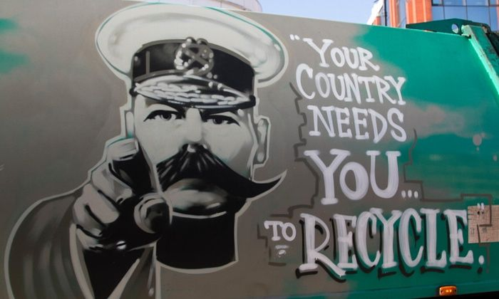 A waste management company in London uses a poster of Lord Kitchener to urge the public to recycle.