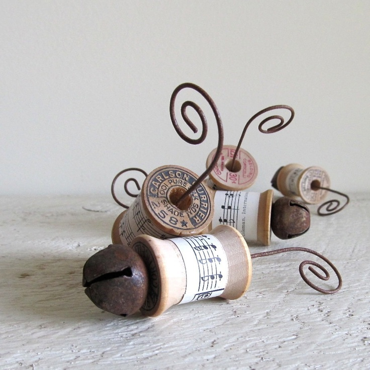 Vintage Sewing Thread Spool Ornaments With Rusty Bells