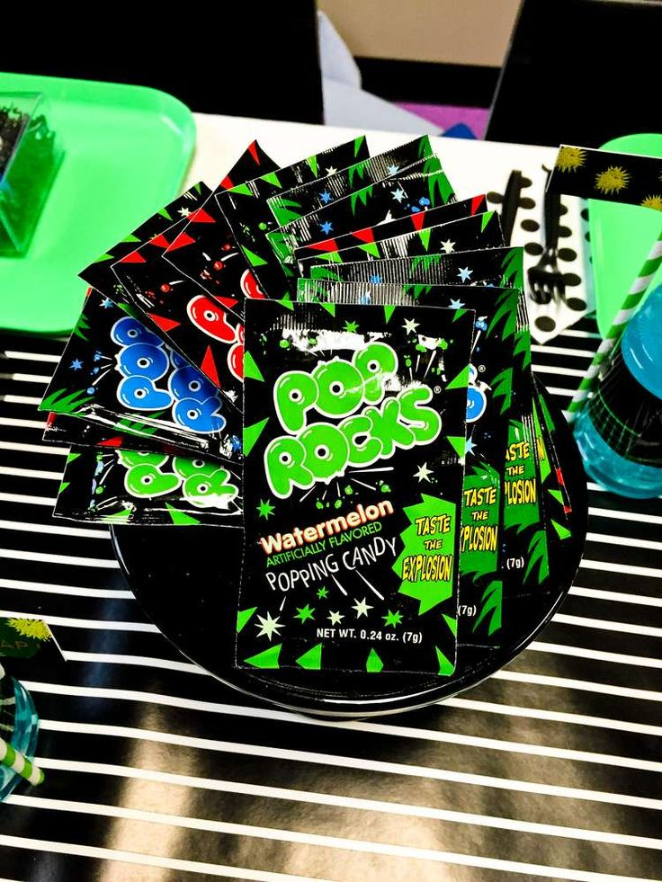 Pop Rocks at a laser tag birthday party! See more party planning ideas at CatchMyParty.com!