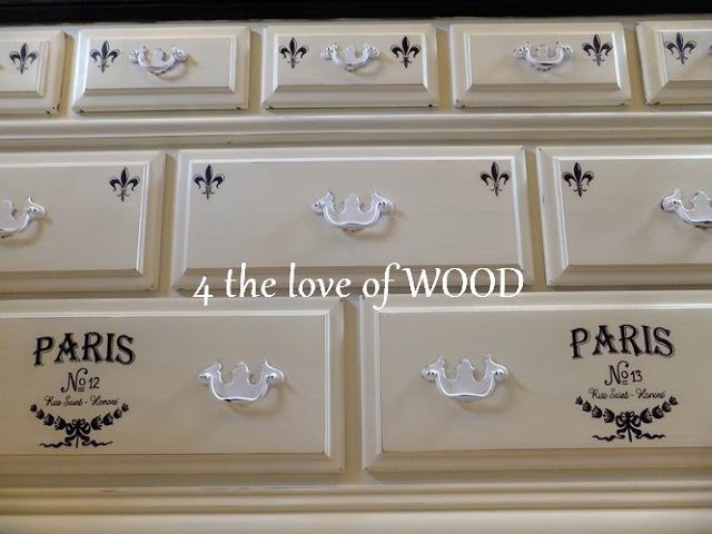 4 the love of woodCharms Furniture, Furniture Special, Painting Furniture, Paris Dressers, Black And White, Espresso Finish, Painting Stuff, White Paris, Graphics Transfer