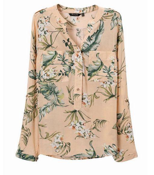 dropshipping 2014 New Fashion Oriental style retro plants printing female long-sleeved pullover Shirt elegant slim Tops st265 US $15.85