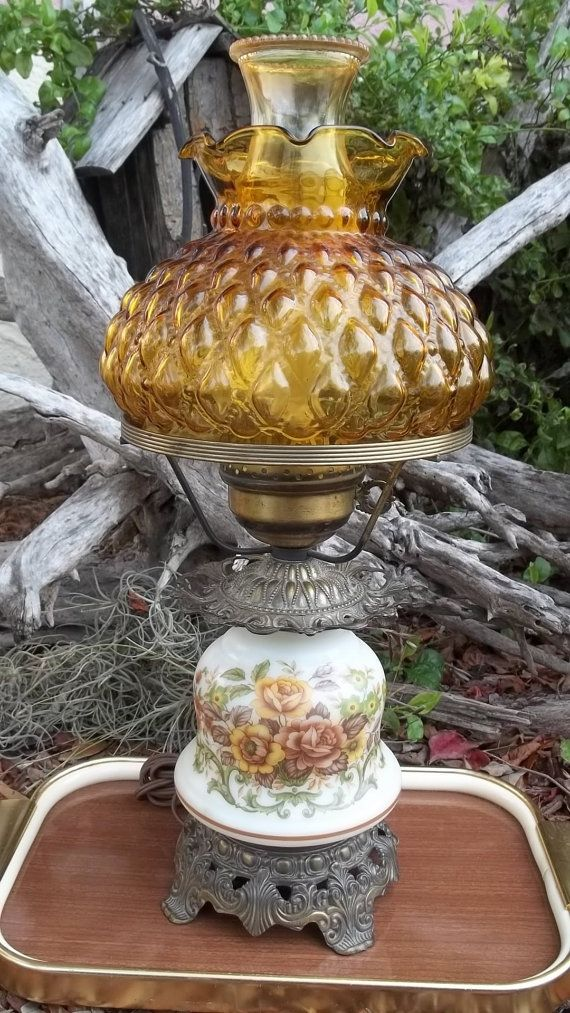 Vintage Quoizel Milk Glass Hurricane Lamp, Parlor Lamp, Table Lamp, Amber Glass Shade