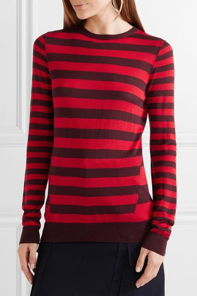 Jason Wu - Striped Silk Sweater - Red - x small