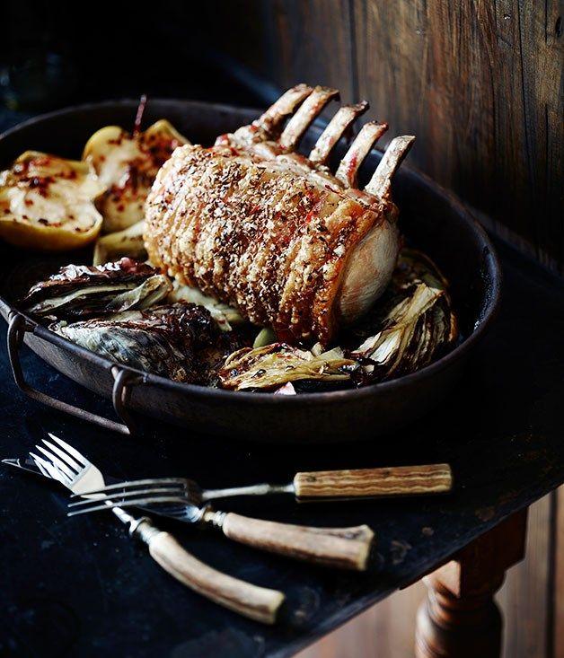 Standing rib roast of pork with radicchio recipe | Pete Evans recipe :: Gourmet Traveller