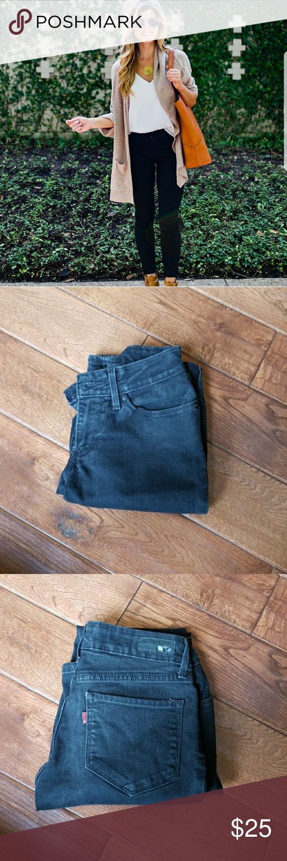 Black Levi jeans Like new condition black Levi jeans! Purchased from another posher but they do not fit me at all, my loss your gain.   >no trades  >smoke and pet free home Levi's Jeans Skinny