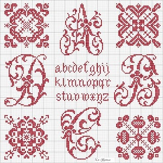 Lacomtesse: Schema Free pomegranate panel, lower right, cross stitch point de croix