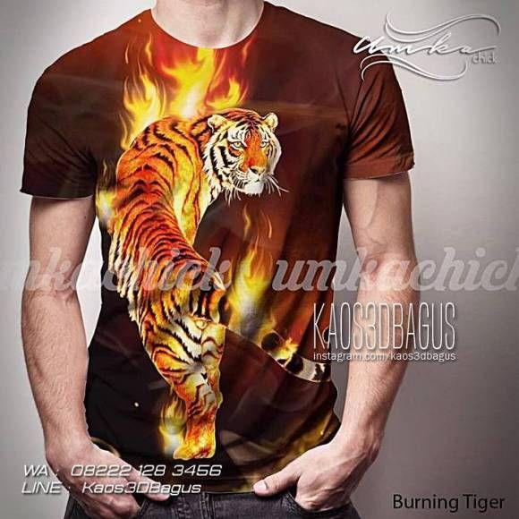 Kaos HARIMAU, Kaos Gambar Harimau Loreng, Kaos 3D Super Premium, Kaos Macan, Burning Tiger, https://kaos3dbagus.wordpress.com, WA : 08222 128 3456, LINE : Kaos3DBagus
