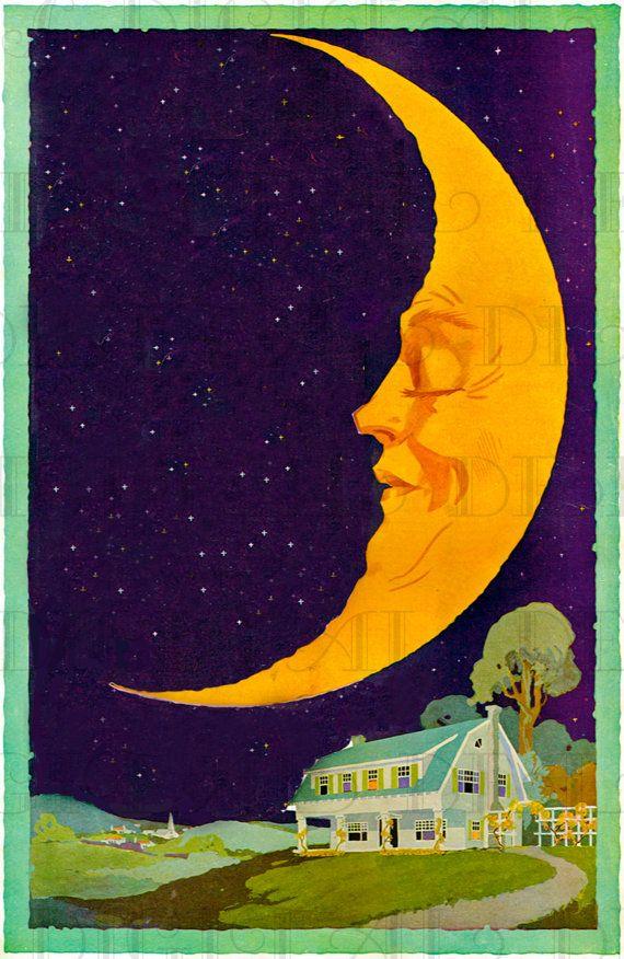 MAN in the HALF Moon! Vintage Moon and Cottage Illustration! Vintage Digital Download. Vintage Digital Print.