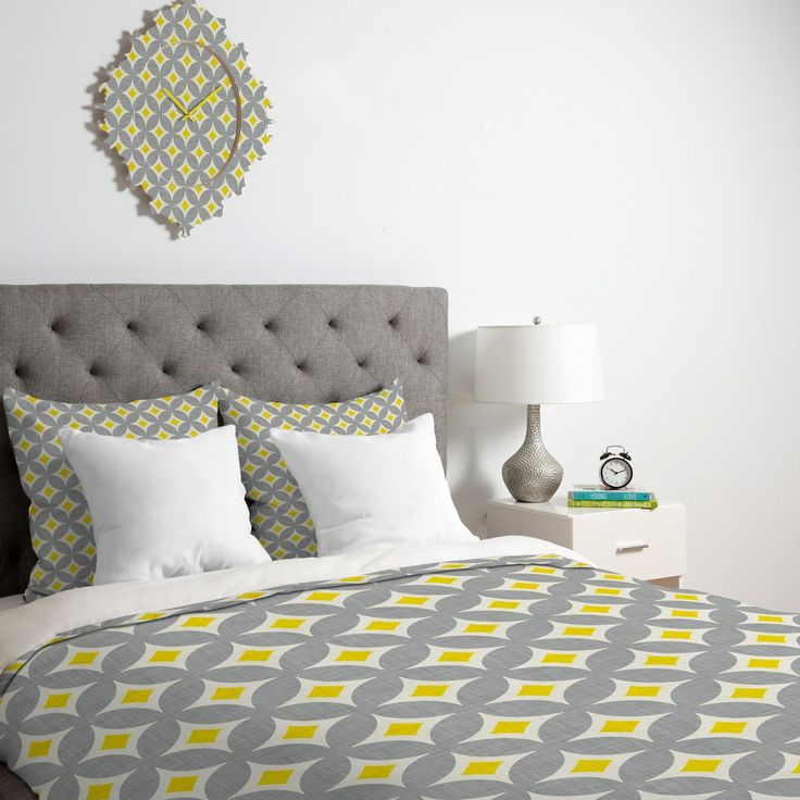 Holli Zollinger Diamond Circles Yellow Duvet Cover | DENY Designs Home Accessories