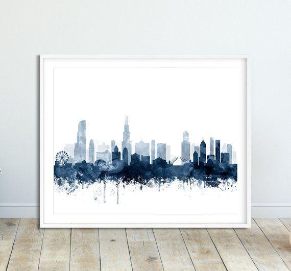 Chicago Skyline Print Chicago Illinois Cityscape Watercolor Etsy Digital Art Printables Modern Wall Art Blue Poster