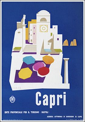 Vintage Travel Poster - Capri - by Mario Puppo - 1954.