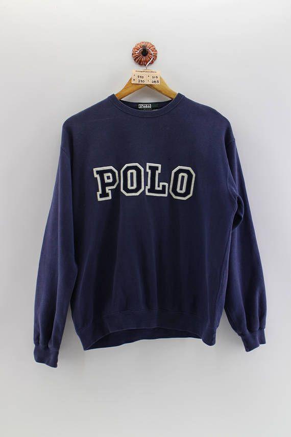 80fab502b Vintage POLO RALPH LAUREN Pullover Sweater Unisex Medium 90 s Polo ...