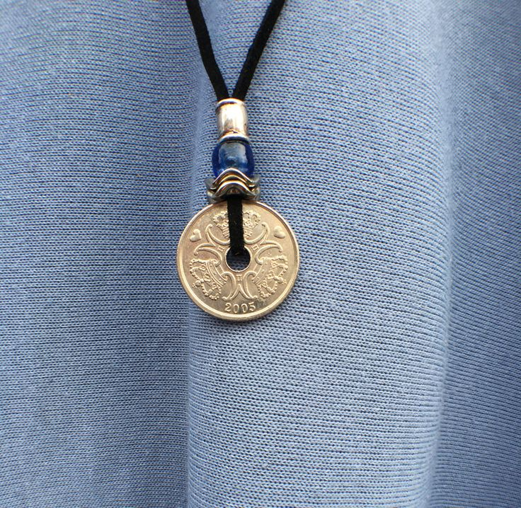 Black Leather Necklace Danish Kroner Silver Coin Mothers Day Gift Valentines Day Boho Shabby Chic Silver Bead Cobalt Blue Glass Bead by JewelrybyJacobe on Etsy