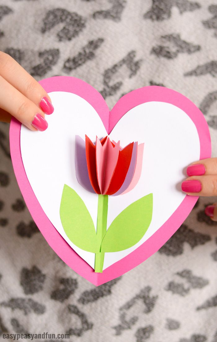 Tulip In A Heart Card Diy Crafts Pinterest Mothers Day Crafts