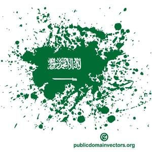 Vector graphics of ink spatter in colors of the flag of Saudi Arabia.