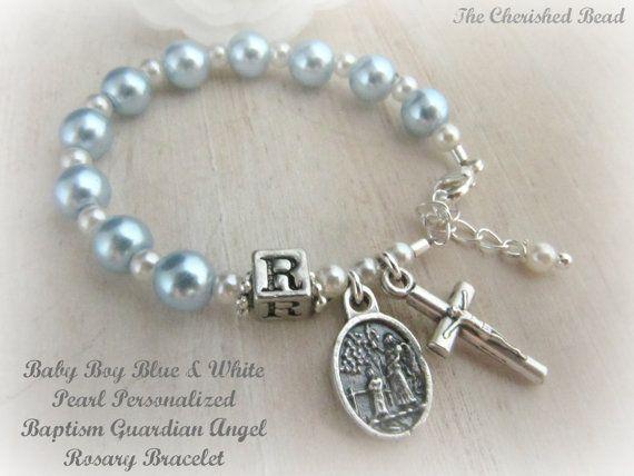 Catholic Baby Boy Personalized Baptism Light Blue Pearl Rosary Bracelet on Etsy, $25.00