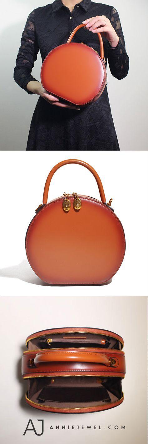 Brown Circular Handtasche Circle Bag Round Leder Geldbörse