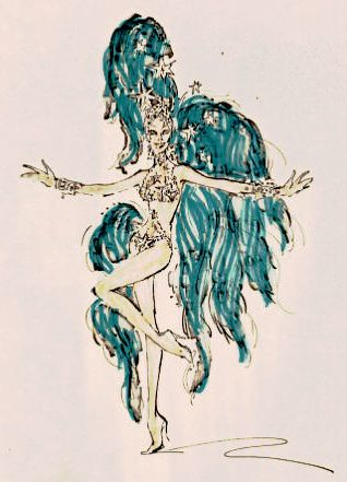 "1974 Bob Mackie costume design for Hallelujah Hollywood! Two-piece bikini-type jeweled showgirl costume with stars, with matching cuffs and headpiece; embellished with oversized turquoise feather tail and plumes. From UNLV Libraries ""Showgirls"" digital collection."