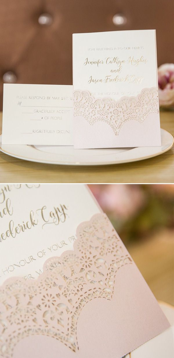 elegant blush pink laser cut pocket wedding