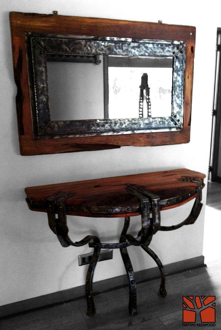 Nativo redwood espejo con marco de roble r stico con for Espejos con marco de cristal