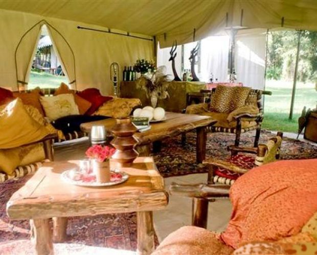 Lakira Camp- is a luxury tented camp, situated on the edge of the lake in Lake Nakuru National Park. The six luxury tents are furnished with antiques, four-poster beds and Persian rugs . All the tents are en-suite with shower and flushed WCs. Each have a private verandah overlooking the lake.
