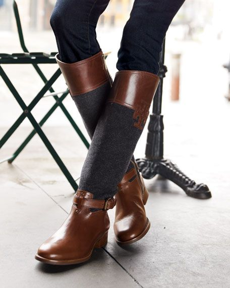 Tory Burch - Blaire Leather / Flannel Riding Boots...I love that you can pair them with both brown and black...