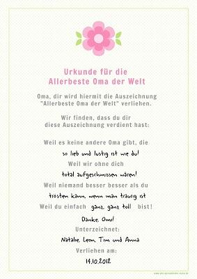 Freebie: Kostenlose Geschenkurkunde zum Ausfüllen - für die allerbeste Oma der Welt!