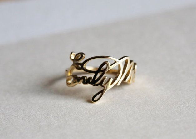Gold Rings – Gold Signature Ring, Name Ring, Signature Jewelry – a unique product by Capucinne on DaWanda