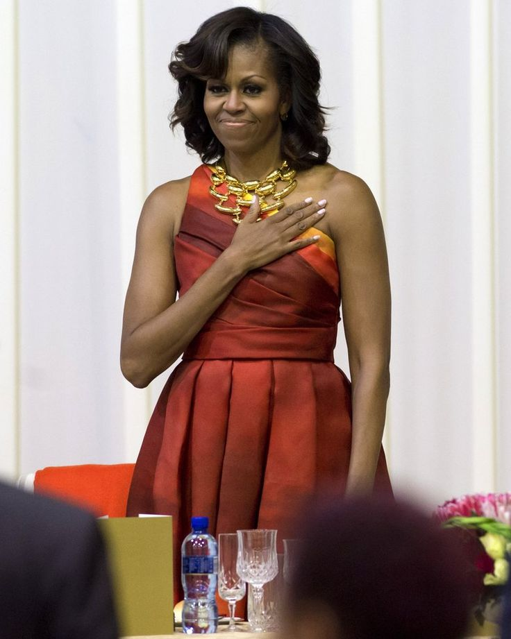 michelle obama was fabulous as ever in a sunset print one shoulder naeem