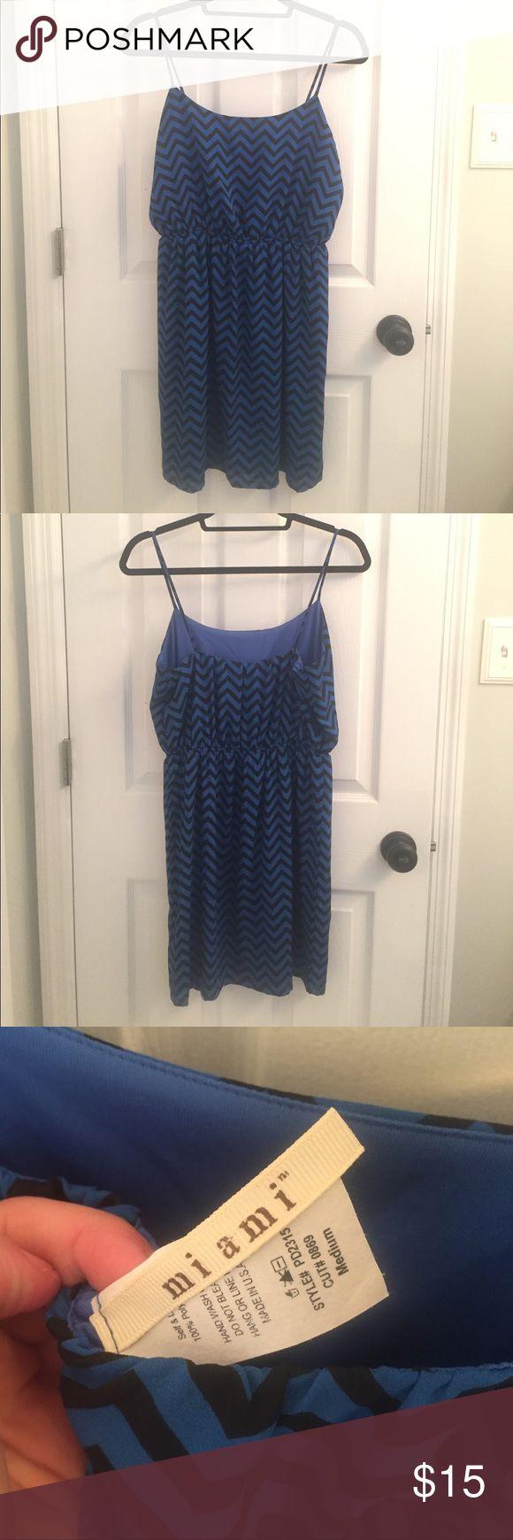 Blue and Black Chevron Dress Only worn twice. Super cute!! Dresses