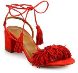 """Frilly fringe and tassels define boho-chic suede sandalSelf-covered block heel, 2"""" (50mm)Suede upperOpen toeWraparound ankle tiesLeather lining and solePadded insoleMade in Italy"""