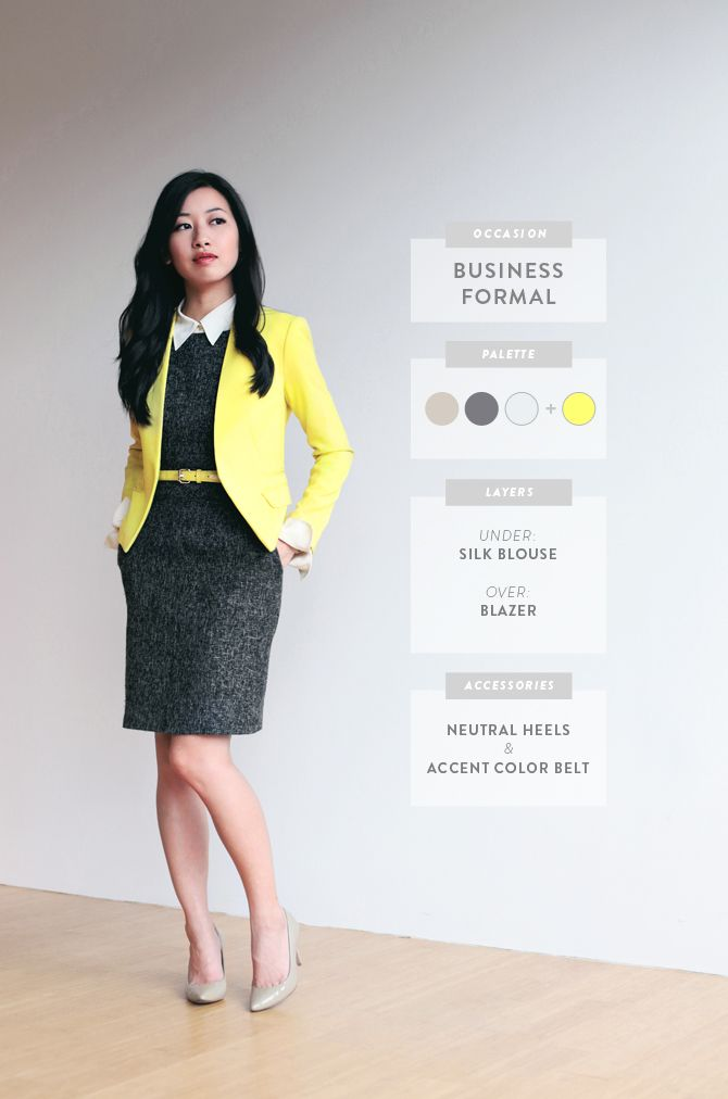 ExtraPetite.com - Blouse, sheath dress, colored blazer, accent belt, neutral heels