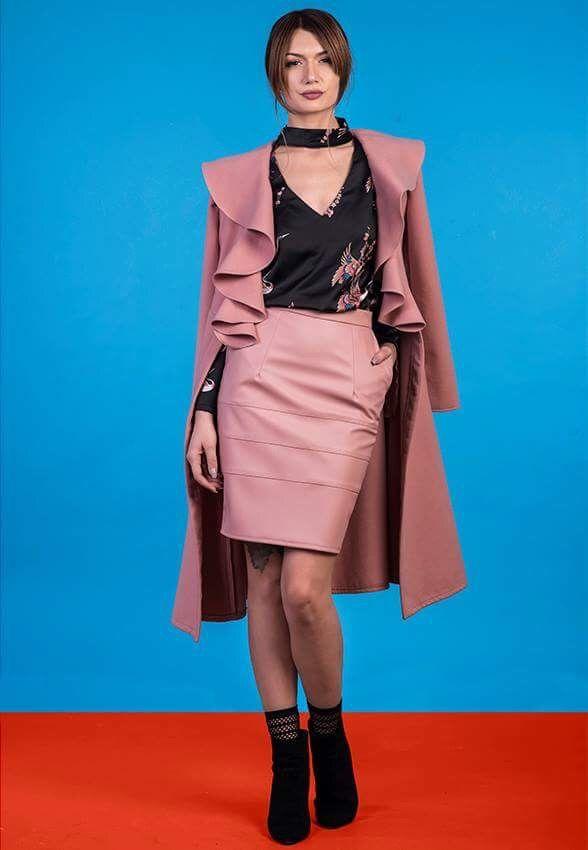 Pretty Pink coat with ruffles , long dress kind of coat