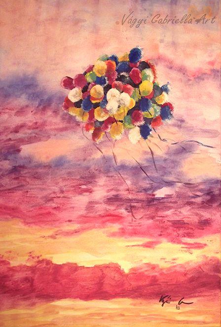 Elszabadulva című akvarellkép #akvarell #művészet #colorful #lufi #naplemente