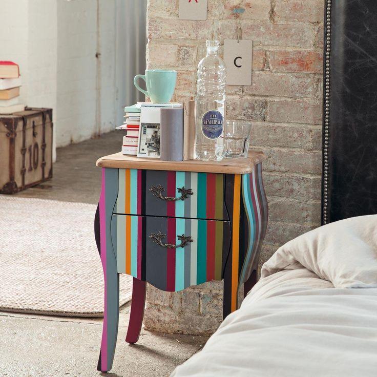 Paulownia wood stripe bedside table, multicoloured W 45cm Neon | Maisons du Monde